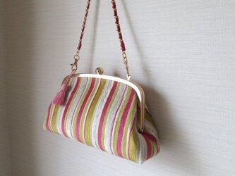 がま口バッグ;イタリア製・ピンクのストライプ柄の画像