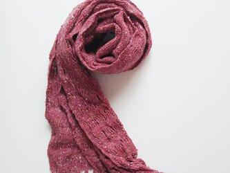 手織り*シルクミニマフラー*赤の画像
