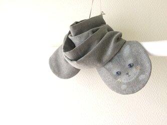 暖かItary製ウール 隠れ子ねこマフラー  の画像