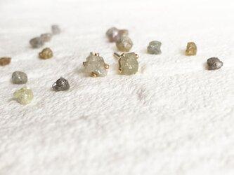 【K14GF】リッチな 原石ダイヤモンド ピアスの画像