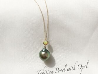 【K10YG】Tahitian Pearl with Ethiopian Opal Necklaceの画像