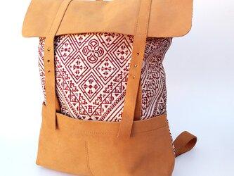 フレンチモロッコ 幾何学 グラナダ レザーリュック  レザーフリップ & ポケットの画像
