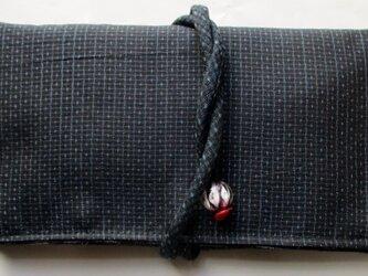 送料無料 藍大島紬で作った和風財布・ポーチ 3843の画像
