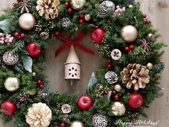 クリスマスリース(0518)~Happy holidays!~ 36cmの画像