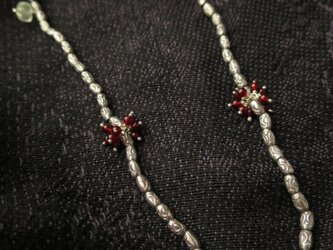 【O】様 オーダー品 SV Hand made Beads・Garnet・Prehnite Necklaceの画像
