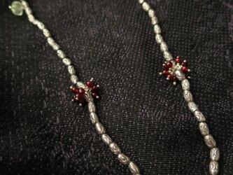 SV Hand made Beads・Garnet・Prehnite Necklaceの画像