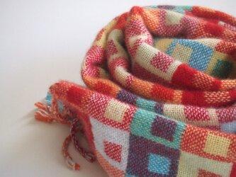 手織りカシミアマフラー・・クレヨンの画像