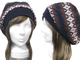 ネイティブ柄 ジャガード織コットンニット/リブ付ベレー帽(ゆったり)◆ネイビーmixの画像