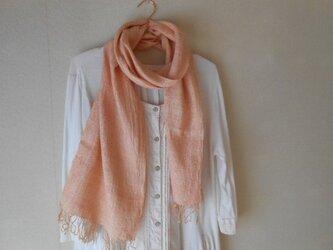 草木染(アカネ)ピンク 手紡ぎ手織り シルク100%マフラーの画像