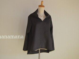 チョコ色ウール 変わり襟ヘムラインブラウス 選べるサイズ2タイプ はなまなの画像