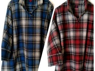 ドルマンスリーブシャツ*チュニック(ブルーフランネル起毛チェック)の画像
