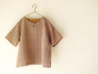 ラオス・ラハナム村の手織り布・半袖クルタの画像