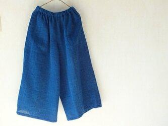 先染め手織りの藍布で作ったシンプルなパンツの画像