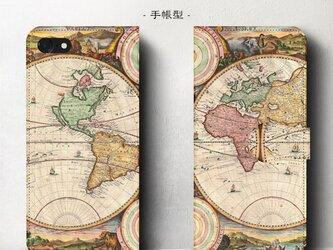 【ヴィンテージ世界地図】スマホケース手帳型 iPhoneⅩ XS 全機種 対応 TPU レザー 名画の画像