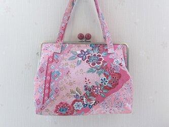 *正絹 御朱印帳バッグ * 変わり斜め縞に蝶と草花模様の画像