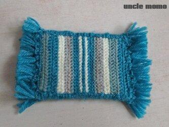 ドール用ツヴィスト刺繍のラグ(玄関・ルームマット)Blue 1/12ミニチュア・ファブリックの画像