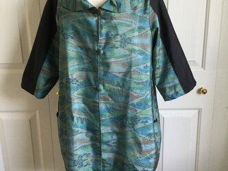 大島紬の七分袖コートの画像