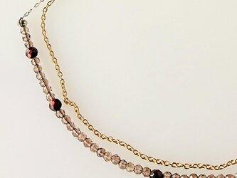 スモ―キークオーツとチェーンの二連ネックレスの画像