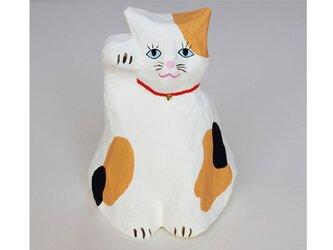 張り子 招き猫 三毛猫3 置物の画像