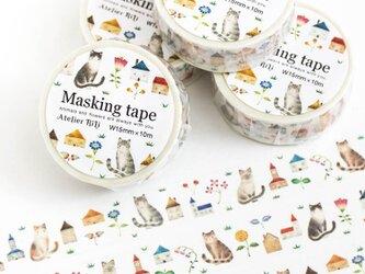 """絵本のかけら。マスキングテープ """"猫たちと色とりどりの花とお家"""" MT-4の画像"""