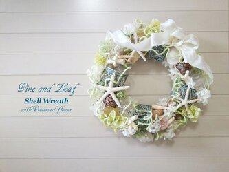 ☆シェル(貝がら)の大きなリース〜開店祝い、開業祝いなどの贈り物にいかがですか〜[w-18038]の画像