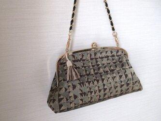 がま口バッグ;イタリア製ジャガードの画像
