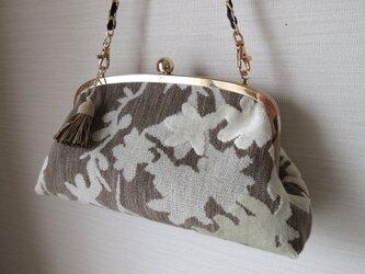 がま口バッグ;ベルギー製ジャガードの画像
