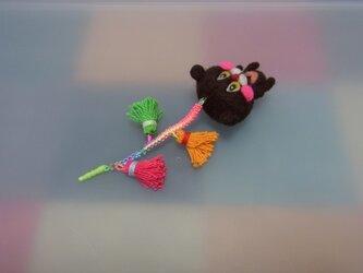 まったりクマのイヤフォンジャック(羊毛フェルト)の画像