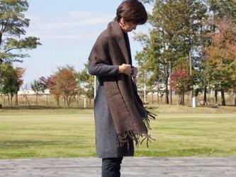 手紡ぎ・手織りのショール(濃茶)の画像