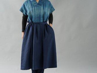 【wafu】伝統製法 正藍染 中厚 リネンワンピース 着物襟 ドルマンスリーブ 禅 和装/藍色×ネイビー a084d-inn2の画像
