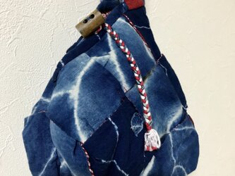 藍染×着物リメイク リバーシブルポーチの画像