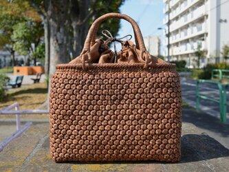 山葡萄(やまぶどう)籠バッグ | 小柄六角花結び編み | 巾着と中布付き | (約)幅32cmx高さ25cmx奥行13cmの画像