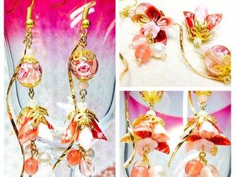 友禅千代紙 【桃色系】桜コーンと星砂入り発光トンボ玉の和ピアス イヤリングの画像