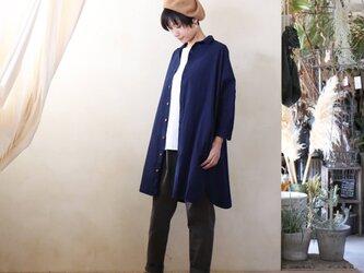 【受注制作】藍染 コットンロングシャツ 濃紺 ユニセックスsizeFの画像