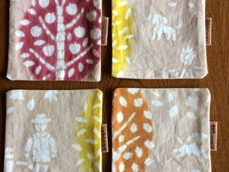 柿渋染めコースター  4枚セット   晩秋の山歩きの画像