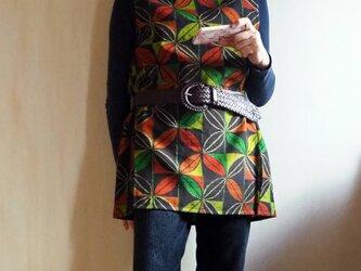 K's あったかカラーの葉っぱのチュニック【現品限り】-ウール着物(古布)からの画像