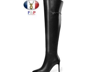 ポインテッドトゥハラコレザーベルテッドロングブーツニーハイブーツ厚底長靴筒丈44cm全2色の画像