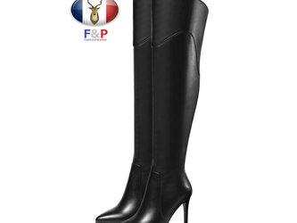 ポインテッドトゥハラコレザーアウトソール1cm細身ロングブーツニーハイブーツ厚底長靴筒丈44cm全2色の画像