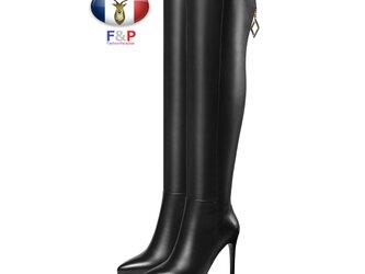 ポインテッドトゥハラコレザーバックファスナーアウトソール1cm細身ロングブーツニーハイブーツ厚底長靴筒丈55cm全2色の画像