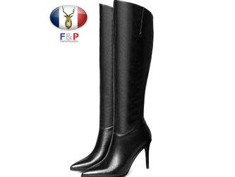 ポインテッドトゥハラコレザー美脚長靴ロングブーツニーハイブーツ筒丈36.5cm全2色の画像