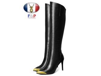 ポインテッドトゥハラコレザートゥの注目色デザインロングブーツニーハイブーツ美脚長靴筒丈36.5cm全2色の画像