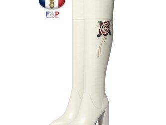 ポインテッドトゥハラコレザーサイド牡丹刺繍入りロングブーツニーハイブーツ美脚長靴筒丈44cm全2色の画像