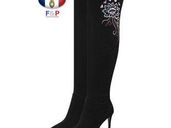 ポインテッドトゥスエードラムレザーサイド刺繍入りロングブーツニーハイブーツ美脚長靴筒丈50cm全2色の画像