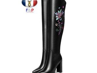 ポインテッドトゥハラコレザーサイド綺麗な花刺繍入りロングブーツニーハイブーツ美脚長靴筒丈44.5cm全2色の画像