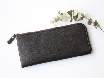 【数量限定】牛革のスリムな長財布L字型 ブラックの画像
