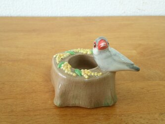印鑑スタンド(陶)シルバー文鳥の画像