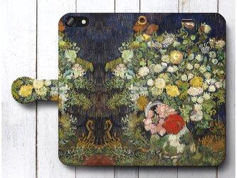 【ゴッホ 花瓶の花束】スマホケース手帳型 iPhoneⅩ XS 全機種 対応 TPU レザー 名画の画像