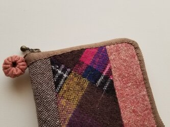 あったかウール生地の2つ折り財布 ピンクの画像