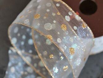 【¥500/2m】水玉ドットクリーム/ゴールド・太幅オーガンジーリボン ワイヤー入り 63mm幅 クリスマス Xmasの画像