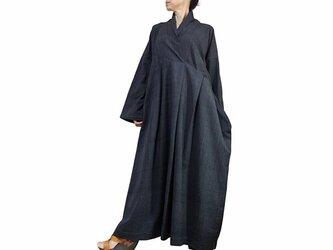 ジョムトン手織り綿のロングドレス No.1 墨黒 (DFS-053-01)の画像